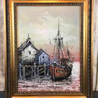 VTG Oil Italian Painting Florence Signed Schooner Nautical Ship Harbor Canvas