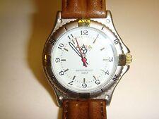 Vintage ACTIVA Japan Corp Quartz Watch Water Resistant 30 M Genuine Leather NIB