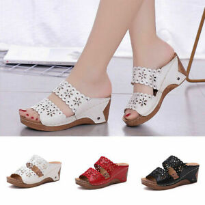 Women shoes hollow leather slippers Lady Sponge Casual Wedge Heel Comfy Sandals