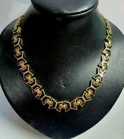 Vintage Gold Tone Necklace Chain black enamel 16 inch