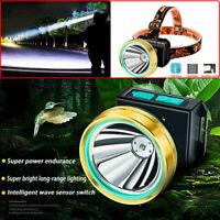 USB Rechargeable Super Bright Head Torch Headlight LED Headlamp Fish Waterproof.