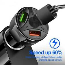 3 Port USB Car Charger Adapter LED Display QC 3.0 Fast Charging for IOS Android
