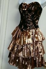 RARE VINTAGE GLITZY COPPER METALLIC  BLACK LACE SEQUIN PEPLUM PARTY DRESS