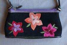 Liz Claiborne Small Black Shoulder Purse Vibrant Pink/Orange Stitched Flowers