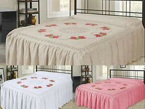 100% Pure Cotton Candlewick Fitted Traditional Bedspread