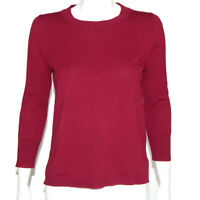 J. CREW 100% Cashmere  Cranberry Red Crewneck Sweater Womens size Small /0261