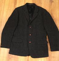 Vintage Harris Tweed Men's Jacket, Medium, Blue Gray Navy Plaid Tweed Blazer