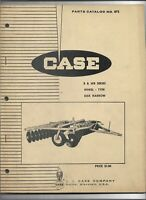 Original 10/1966 Case B and WB Series Wheel Type Disk Harrow Parts Catalog # 872