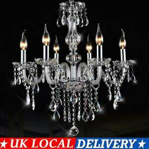 6 Arm Crystal Chandelier Ceiling Light Droplets Pendant Lamp Light Home Decor