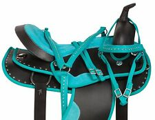 14 15 16 17 18 TEAL CRYSTAL SYNTHETIC WESTERN PLEASURE TRAIL SADDLE HORSE TACK