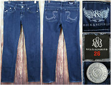 Rock & Republic Woman's Blue Denim Jeans Size 26 Actual Measurement 30 x 30