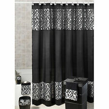MOSAIC STONE FABRIC SHOWER CURTAIN  Black