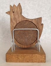 Vintage Wood And Cork Rooster Coaster Set Of Four With Holder