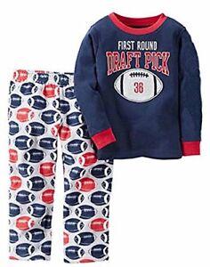 Carter's Boy's Size 5 Draft Pick Football Cotton Pajama Top, Fleece PJ Bottoms