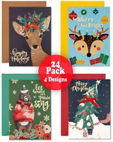 Greetink Assorted Boxed Christmas Cards - 24 Pack - With Envelopes 4 Designs