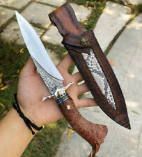 HANDCRAFTED DAMASCUS VG10 HUNTING KNIFE FIXED BLADE TACTICAL BOWIE ART KNIFE