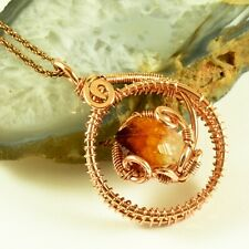 Natural Citrine Crystal Point Infinity Pendant Copper Wire Wrapped Gemstone