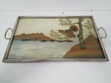New ListingVtg Reverse Glass Painting with Inlay Asian Tray 20x12.5