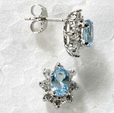 925 ECHT SILBER RHODINIERT ***  Ohrstecker Zirkonia aquamarin blau hellblau