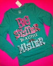 "*NEW! ""BIG SISTER to a Little Mister"" Girls Graphic Shirt 5-6 7-8 10-12 Brother"