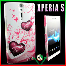 Custodia rigida CUORI rosa per Sony XPERIA S LT26i back cover rigida gommata