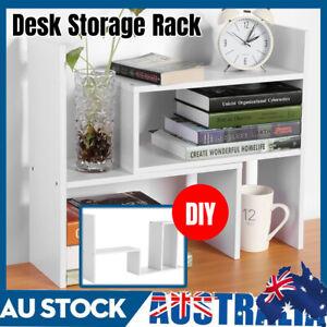 DIY Wooden Shelf Desktop Storage Rack Office Table Desk Unit Organizer Bookshelf