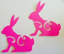 Cricut Die Cuts Rabbit Set Of Two Handcrafted Pink Easter For Paper Piecing