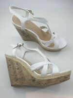 New Look size 6 (39) white faux leather strappy platform wedge heel sandals