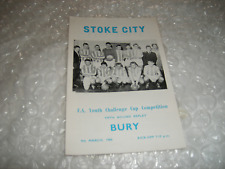 Stoke City v Bury  9th March 1966 FA Youth Cup 5th Round Replay