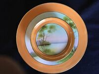 Noritake Two Tier Lustre Serving Dish Lake Scene Plate Orange