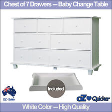 Baby Change Table Nursery Dresser Chest Storage 7 Drawers Cabinet Furniture