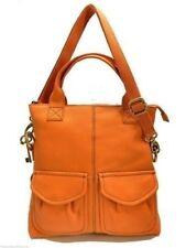 Fossil Modern Cargo Fold Over Tote Orange Leather Handbag + Shoulder Strap New!