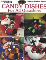 Leisure Arts 2459 Crocheted CANDY DISHES for all Occasions Santa Witch & More