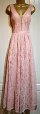Blush Pink Crochet Lace Wedding Party Occasion Evening Gown Maxi Dress Size 12