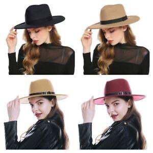 Black Red Fedora Hats For Women Imitation Wool Fedoras Panama Felt Hat Winter