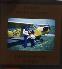 Vintage Kodak Ready-mount Slide Of A Family By Old Airplane Propeller