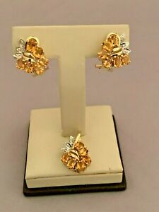 14K YELLOW GOLD CITRINE AND DIAMOND EARRINGS WITH MATCHING PENDANT