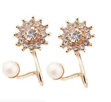 DOUBLE STAR PEARL CRYSTAL GOLD PLATED WRAP STUD EARRINGS