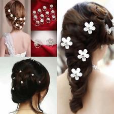 20/12Pcs Wedding Bridal Pearl Flower Crystal Hair Bobby Pins Clips Diamante Pins