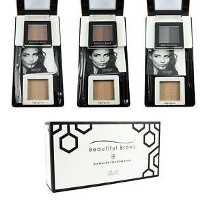 Beautiful Brows Duo Eyebrow Shaping Kit Powder Stencil Highlighter Brown Black