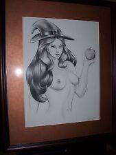 Original Pencil, Nude Witch Woman Pin Up Art 2000 Erik Drudwyn Treats Of Samhain