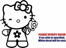 "Hello Kitty Gun Bad Gangster Graphic Die Cut decal sticker Car Truck 10"""