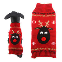 Christmas Red Dog Sweater Winter Pet Puppy Clothing Warm Reindeer Dog Clothes