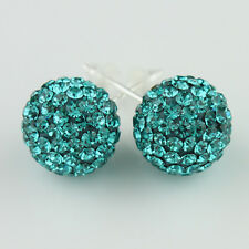 Czech Crystal Elements Round Disco Ball Silver Stud Earrings 6mm 8mm 10mm 12mm