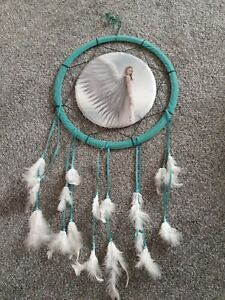 """LARGE Dream Catcher """"Spirit Guide"""" by Anne Stokes, Nemesis Teal with feathers"""