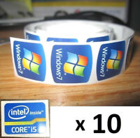 10 FREE WINDOWS computer 7 sticker + i5 i3 i7  Intel inside Core PC Genuine 8 xp