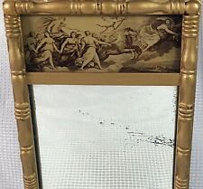 Petite 19th C. Antique Reverse Painted Aurora American Federal Giltwood Mirror