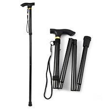 Black Metal Walking Stick Easy Adjustable Folding Collapsible Travel Cane -QN03