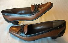 Naturalizer Blake 2 Tone Brown with Bow Leather Pumps Heels Size 7.5 M 402N36