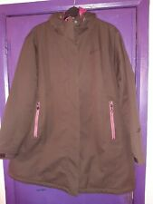 MAIER SPORTS LADIES HOODED COAT SIZE 30..BROWN/PINK PLUS SIZE